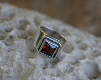 Garnet ring , Size 7 1\2 ,  Silver Ring, Handmade Silver Ring, Garnet Jewelry, Red Stone Ring, Birthday Ring, Silver Jewelry