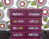 Jewelry Box in Plum Purple Turqoise Pink and Green: Abigail