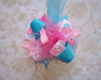 Hair Bow---MINI Funky Fun Over the Top Bow----Cupcake Cutie