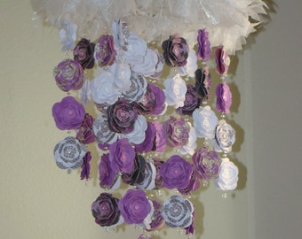 Purples and Gray Flower Baby Mobile Photography Prop