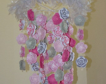 Flower Baby Mobile flower baby mobile Zinnia Rose Pinks and Grays