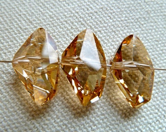 Vintage Swarovski Pink Champagne Large Fancy Cut Crystal Bead -  Multi Faceted - 11x19mm - Gorgeous - Qty 1