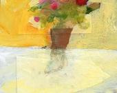 "Original mixed media painting ""Flowers"" art still life colourful modern"