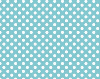 Aqua and White Small Polka Dot Cotton For Riley Blake, 1 Yard