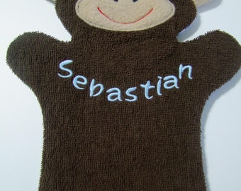 Monkey Puppet Wash Mitt Personalized