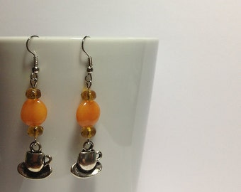 Orange Tea Cup Earrings