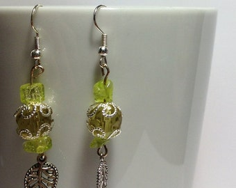 Decorated Yellow Leaf Earrings