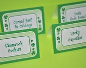St. Patrick's Day Food Label Tent Cards - St. Patrick's Day Decorations - Shamrocks, Clovers, Green - Set of 12
