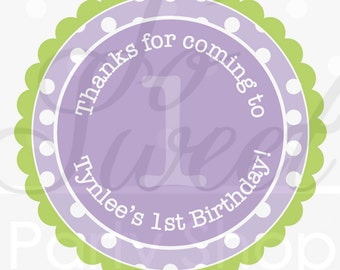 24 Favor Sticker Labels - Polkadots Lavender Purple and Lime Green - Girls Birthday Party Decorations