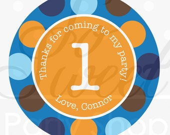 Boys 1st Birthday Favor Stickers, Thank You Favors, Personalized Favors, Boys Birthday Party Decorations, Blue, Orange Polkadots - Set of 24