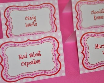 12 Girls 1st Birthday Food Label Tent Cards - Valentine's Day Birthday Decorations - February Birthday - Valentine's Day Party