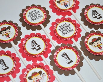 12 Cowgirl Birthday Cupcake Toppers - Cowgirl Birthday Decorations - Western Birthday Party