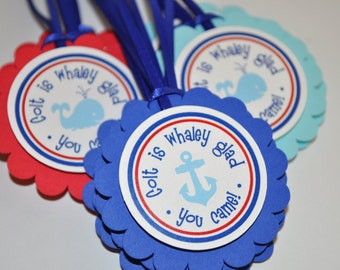 Nautical Birthday Favor Tags - Whale and Anchor Birthday Decorations - Boys 1st Birthday
