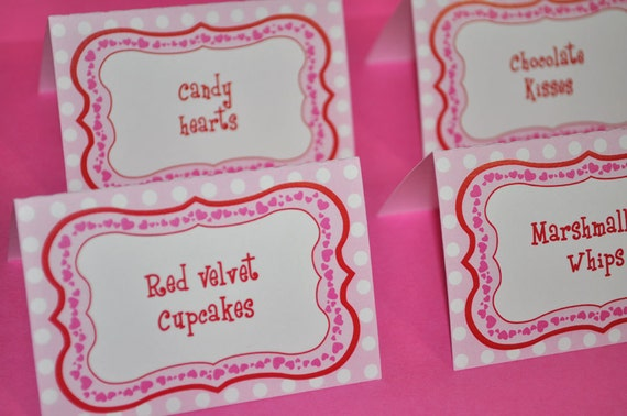 12 girls 1st birthday food label tent cards - valentine's day, Ideas