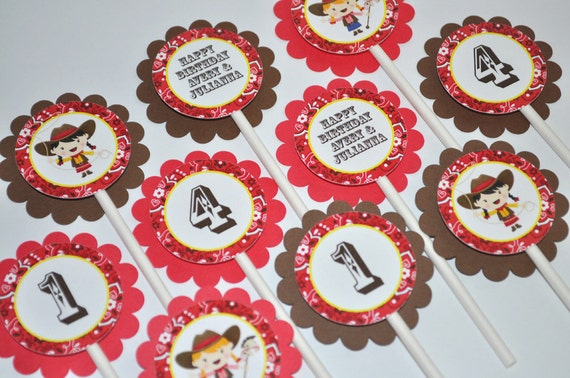 Cowgirl Birthday Cupcake Toppers 1st Party
