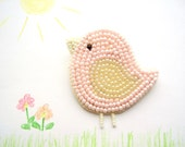Kids brooch Pink bird chick pin badge bead embroydery beadwork handmade,  gift for girl