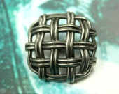 Metal Buttons - Sparse Rattan Weave Metal Buttons , Nickel Silver Color , Shank , 1.07 inch , 6 pcs