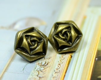 Metal Buttons - Rose Metal Buttons , Antique Brass Color , Shank , 0.71 inch , 10 pcs