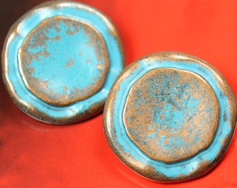 Metal Buttons - Double Circles Metal Buttons , Retro Sky Blue Color , Shank , 0.91 inch , 6 pcs