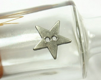 Metal Buttons - Star Metal Buttons , Nickel Silver Color , 2 Holes , 0.51 inch , 10 pcs