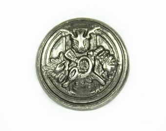 Metal Buttons - Hunter Emblem Metal Buttons , Nickel Silver Color , Shank , 0.87 inch , 10 pcs