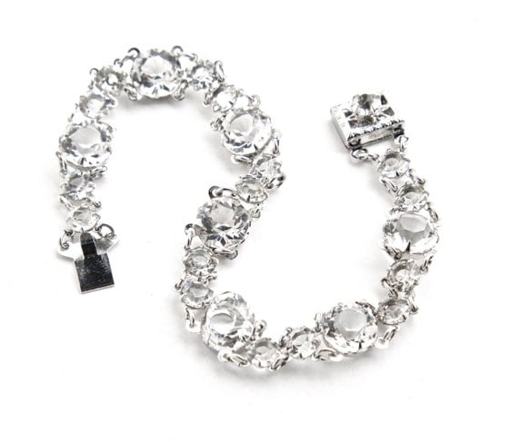 Vintage 12K White Gold Filled Rhinestone Bracelet - 1940s Faceted Glass Jewelry / Clear Crystals