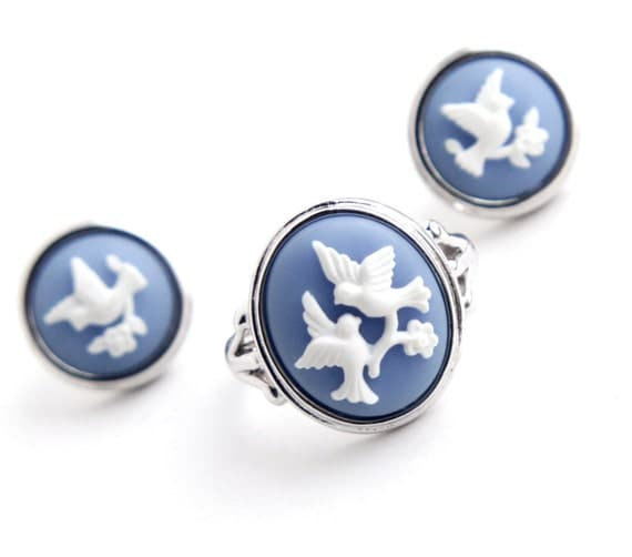 Vintage Bird Cameo Ring Amp Earring Set Silver Tone Size 8