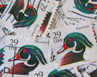 Duck Dynasty 50 Vintage 29cent Wood Duck US Postage Stamps Scott 2484 2485 Ornithology Bird Twitter Tweet Mississippi MI Scrapbook Philately