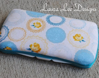 Vintage Yellow Rose and Turquoise Boutique Style Travel Baby Wipe Case, Diaper Wipe Case, Wet Wipe Case, Personalized Case, Nappy Wipe Case