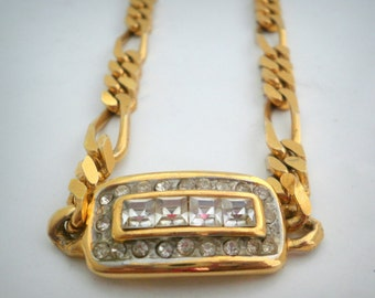 Vintage Golden Necklace Chain with Rhinestones