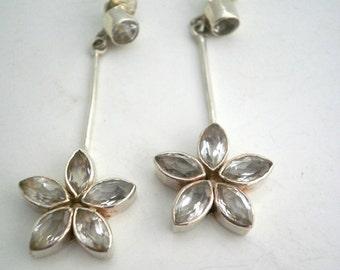 Sterling Silver Earrings Zirconite Flower