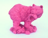 Berry Pink Bear with Fish - upcycled painted shabby cottage chic - valentine or Easter gift