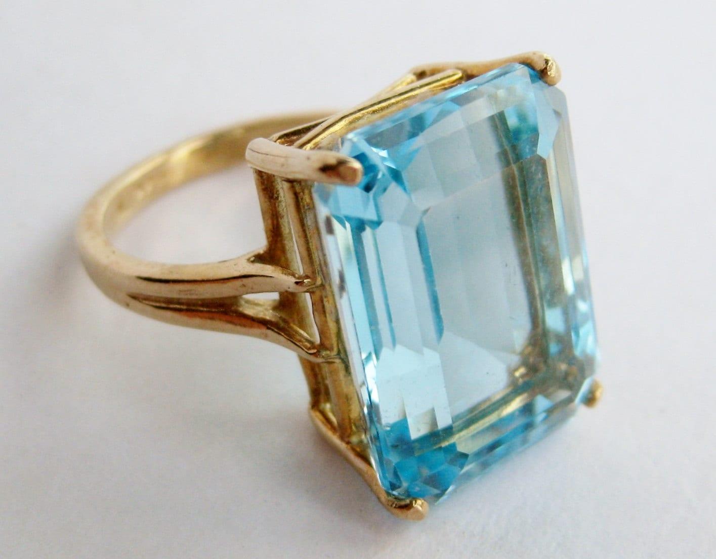 Vintage Fine 14k Gold Amp Emerald Cut Aquamarine Blue Jeweled