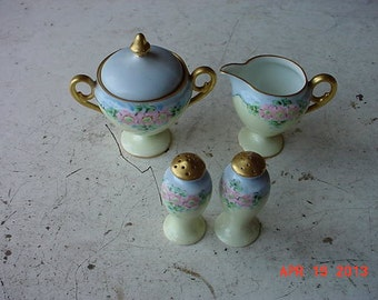 Antique ES GERMANY 4 pcs SET Sugar Creamer Salt Pepper Handpainted China Pink Flowers Blue Yellow Gold Trim Beatiful Old Estate Set