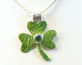 Green Pendant Necklace 3 Leaf Clover Enamel Charm Irish Celtics