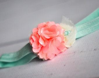 Baby Headband, Coral and Aqua, Toddler Headband, Flower Girl, Flower Headband, Newborn Headband, Infant Headband, Newborn Photo Prop