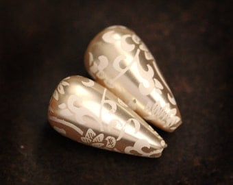 22x12mm Floral Patterned Pearl Teardrop Beads in Cream and Ivory, (F2-R6-C3), Quantity 2