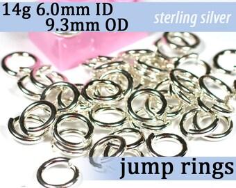 14g 6.0mm ID 9.3mm OD sterling jump rings -- 925 jumprings 14g6.00 links