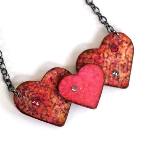 Valentine Necklace Decoupaged Triple Hearts Pink Peach with Crystals