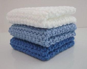 Crochet Washcloths  /  Dishcloths / 100% Cotton / Set of 3