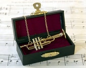 Trumpet Necklace in Case, Music Necklace, Trumpet Jewellery