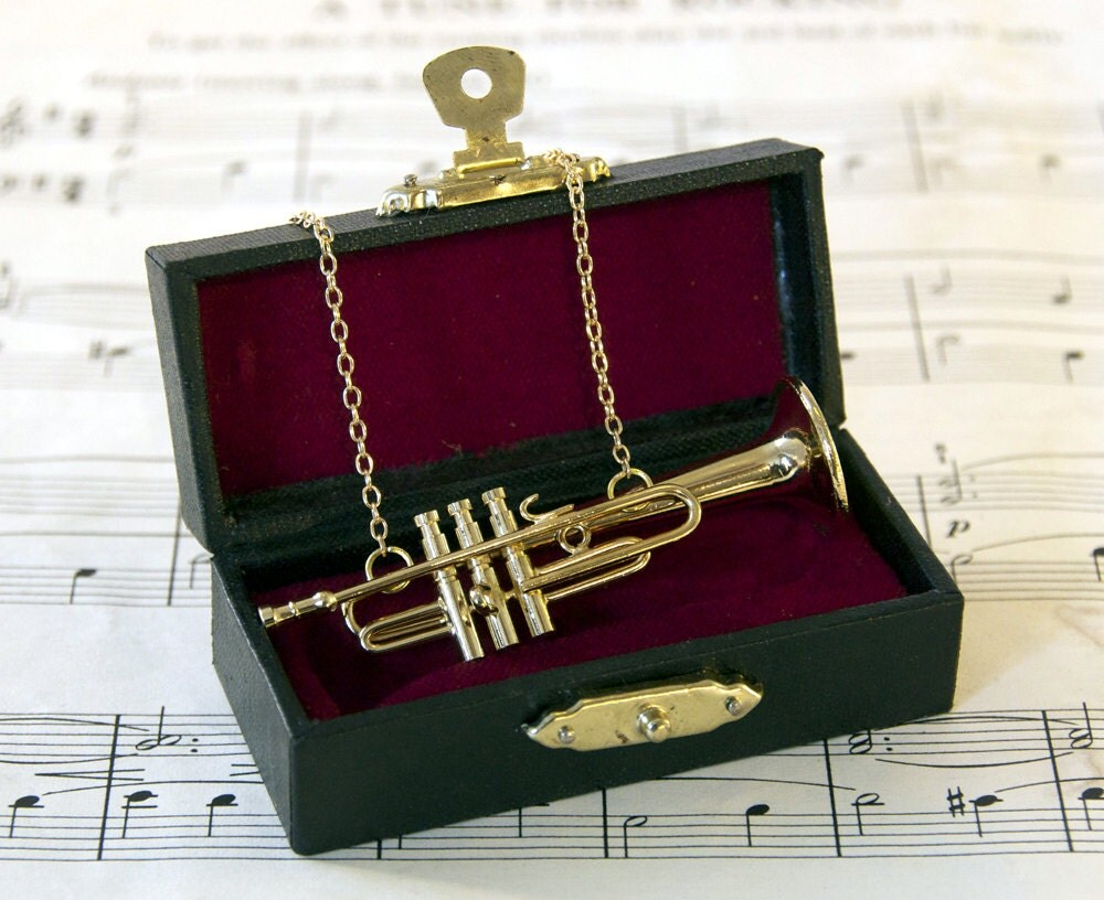 Trumpet Necklace in Case - Music Necklace - Trumpet Jewellery