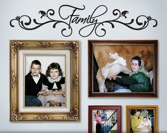Photo Gallery Topper Vinyl Wall Decal: Family with Fancy Embellishments