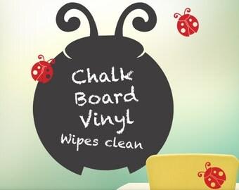 Ladybug Chalkboard Vinyl Wall Decal - Blackboard, Ladybird Chalk board, Kids Room Decor, Door Decor