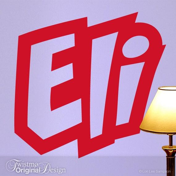 Wall Decal Custom Name Comic Book Super Hero Style Font Eli