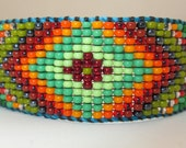 Huichol Native American Inspired Beaded Bracelet with Blue Thread  - Original Design 23