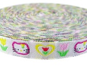 Kitty Heart Tulip Embroidery Ribbon Fabric Key Fob Collar 4 Yards