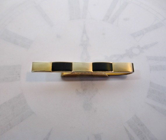 Vintage Swank Tie Clip Black and Goldtone Geometric Pattern