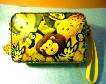 Crazy Zoo Yellow Faux Leather Pouch