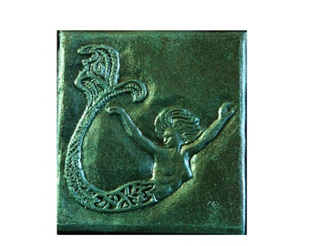 Mermaid Decorative Tile, Bathroom Decor, Beach Wall Plaque, Mermaid Stone  Art Sculpture,